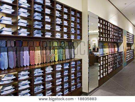 interior of modern shop with shirts and ties