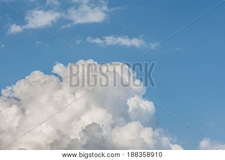 White Cloud Formations On The Blue Sky. Abstract Heaven Background With White Clouds