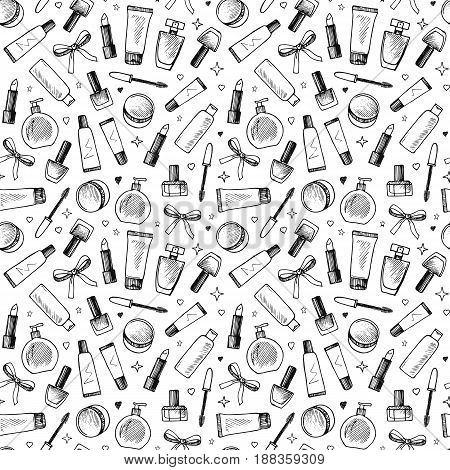 Hand drawn seamless pattern of cosmetics. Vector illustration on white background