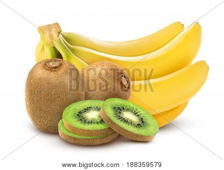 Banana and kiwi. Collection of whole and cut kiwi with banana isolated on white background with clipping path.