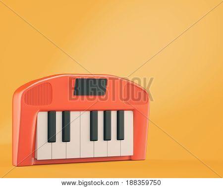 Cartoon styled synthesizer on orange background. 3d rendering