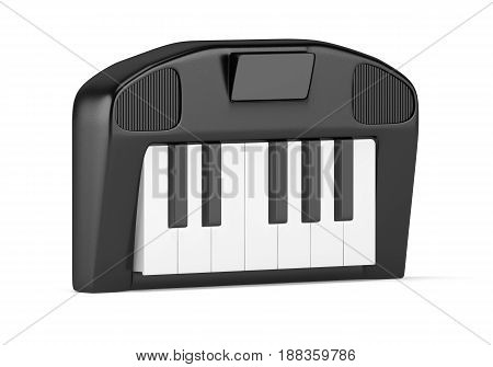 Cartoon styled synthesizer isolated on white background. 3d rendering