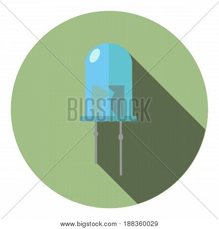 Vector image of a blue light-emitting diode on a round background
