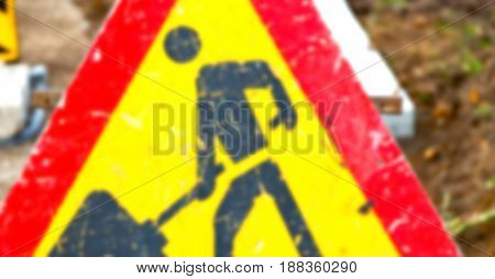 In South Africa Road Signal Of A Man At  Work