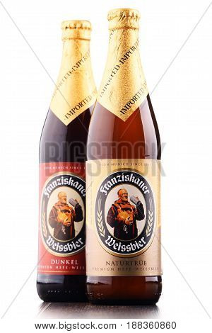 POZNAN POLAND - MAY 17 2017: Franziskaner Weissbier is a product of Spaten-Franziskaner-Breau GmbH located in Munich Bavaria Germany. The brewery is owned by the Anheuser-Busch InBev.
