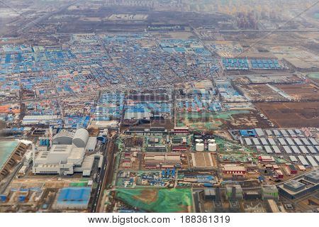 Aerial shot of an industrial zone in China near Beijing