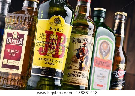 POZNAN POLAND - MAY 17 2017: Worldwide some 2 billion people use alcohol one of the most widely used recreational drugs on earth with yearly consumption of over 6 liters of pure alcohol per person