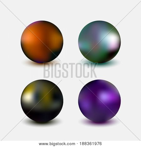 Metallic chrome spheres collection, realistic vector illustration isolated on white background
