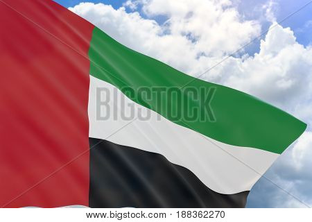 3D Rendering Of Uae Flag Waving On Blue Sky Background