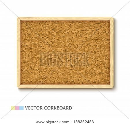 Cork board with light wooden frame, realistic vector illustration. Horizontal corkboard isolated on white background.