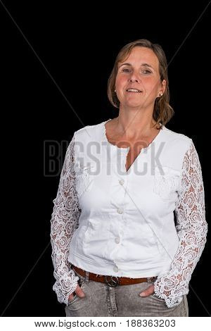 authentic attractive europeen lady with white shirt, standing relaxed