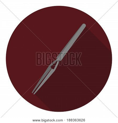 Vector image of tweezers on a round background