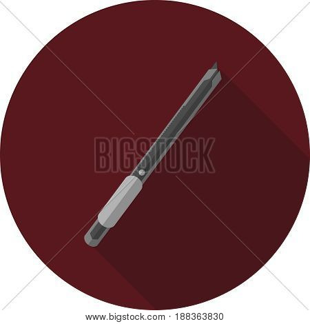 Vector image of a writing knife on a round background