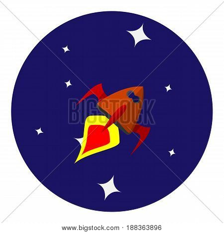 Vector image of space ship on background of space