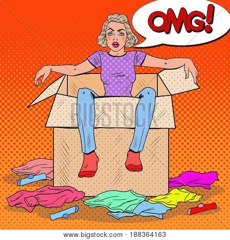 Pop Art Stressed Woman in the Box with Different Clothes. Moving to new House. Vector illustration