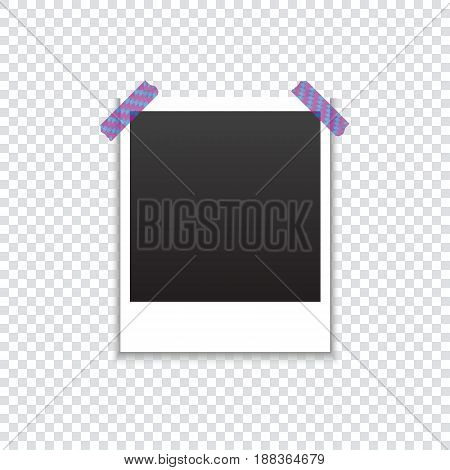 Frame for a photo attached with colored tape with shadow on a transparent background. Template for your project. Vector illustration.