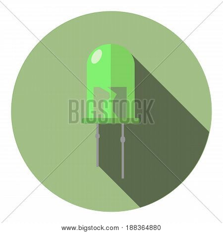 Vector image of a bright green LED on a background of a background