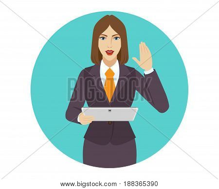 Businesswoman holding a digital tablet PC and greeting someone with his hand raised up. Portrait of businesswoman in a flat style. Vector illustration.