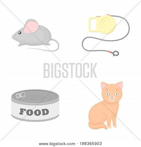 Mouse, pet leash, pet food, kitten. Cat set collection icons in cartoon style vector symbol stock illustration .