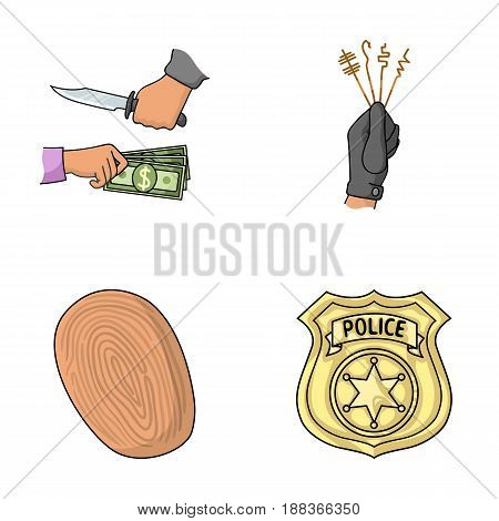 Robbery attack, fingerprint, police officer's badge, pickpockets.Crime set collection icons in cartoon style vector symbol stock illustration .