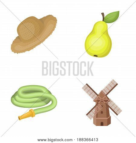 Straw hat, pear with leaf, watering hose, windmill. Farmer and gardening set collection icons in cartoon style vector symbol stock illustration .