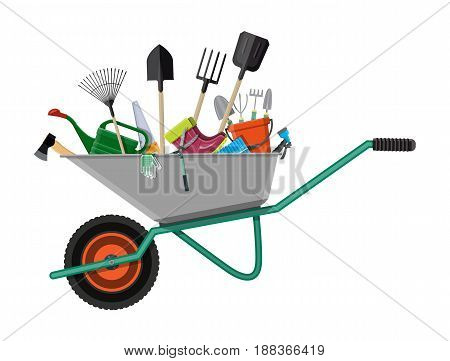 Gardening tools set in wheelbarrow. Equipment for garden. Saw bucket ax wheelbarrow hose rake can shovel secateurs gloves boots. Vector illustration in flat style