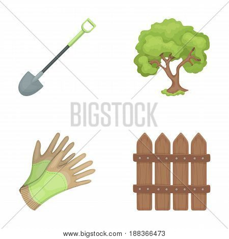 A shovel with a handle, a tree in the garden, gloves for working on a farm, a wooden fence. Farm and gardening set collection icons in cartoon style vector symbol stock illustration .