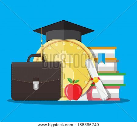 White rolled paper diploma scroll, big gold coin and black graduation cap, books, briefcase, apple. Education savings and investmet concept. Vector illustration in flat style