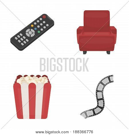 Control panel, an armchair for viewing, popcorn.Films and movies set collection icons in cartoon style vector symbol stock illustration .