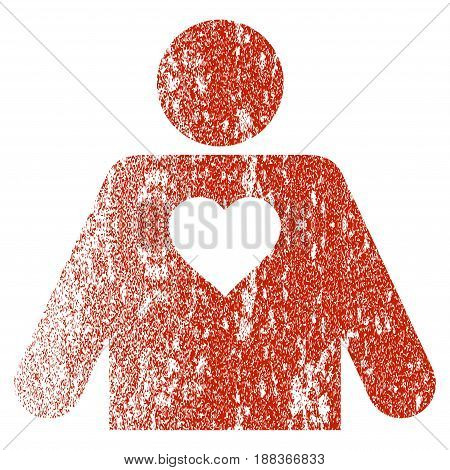 Lover Person grunge textured icon for overlay watermark stamps. Flat symbol with scratched texture. Textured vector red rubber seal stamp with grunge design on a white background.