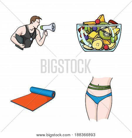 Personal trainer, fruit salad, mat, female waist. Fitnes set collection icons in cartoon style vector symbol stock illustration .