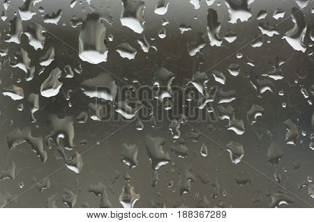 Water droplets and water streams on glass