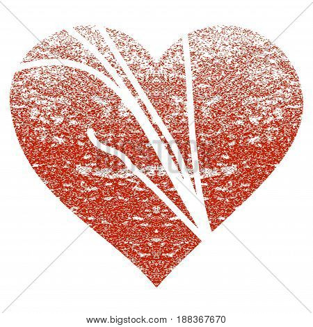 Damaged Love Heart grunge textured icon for overlay watermark stamps. Flat symbol with dirty texture. Textured vector red rubber seal stamp with grunge design on a white background.