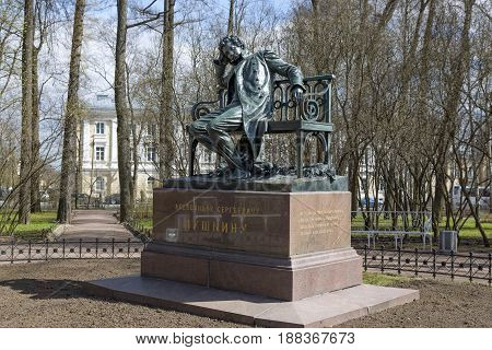 Saint Petersburg, Russia,may 07, 2017: Monument to A.S. Pushkin in the Tsarskoe Selo.