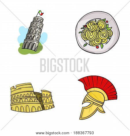 Pisa tower, pasta, coliseum, Legionnaire helmet.Italy country set collection icons in cartoon style vector symbol stock illustration .
