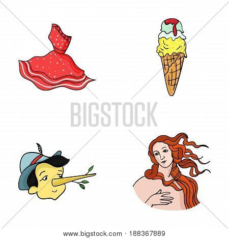 Italian dress, gelato, pinocchio, goddess of love. Italy set collection icons in cartoon style vector symbol stock illustration .