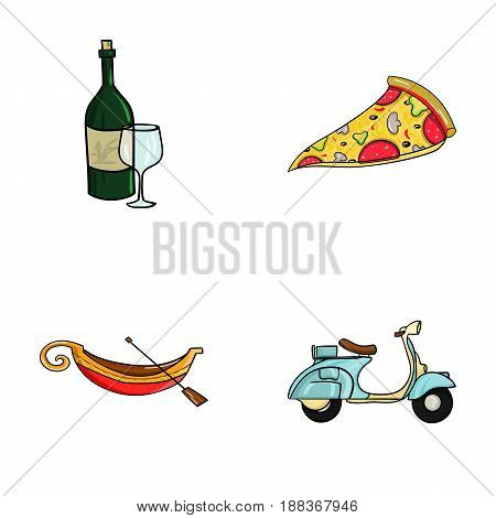 A bottle of wine, a piece of pizza, a gundola, a scooter. Italy set collection icons in cartoon style vector symbol stock illustration .