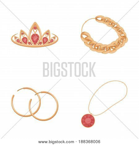 Tiara, gold chain, earrings, pendant with a stone. Jewelery and accessories set collection icons in cartoon style vector symbol stock illustration .