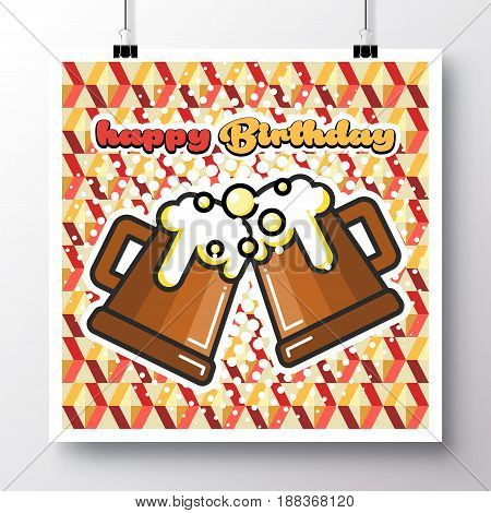 Poster with icon mugs beer and phrase-Happy Birthday on a vintage pattern background. Vector illustration for wallpaper flyers invitation brochure greeting card menu.