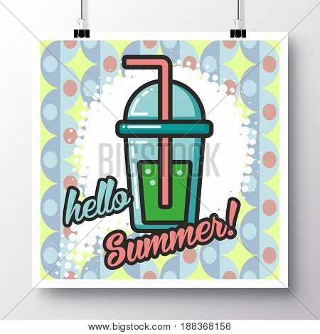 Poster with icon lemonade and phrase-Hello Summer on a vintage pattern background. Vector illustration for wallpaper flyers invitation brochure greeting card menu.