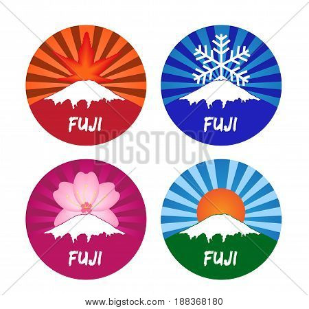fuji all season icon vector . summer winter autumn and spring