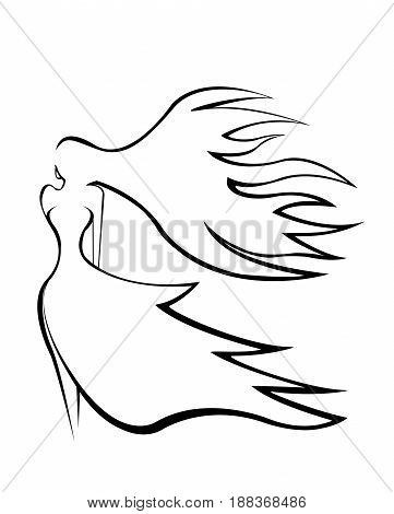 Illustration. Abstract silhouette of a graceful girl with hair flying in the wind.