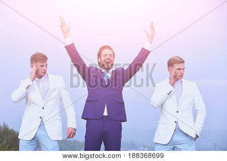 Happy Man And Twins Guys On Blue Sky, Agile Business