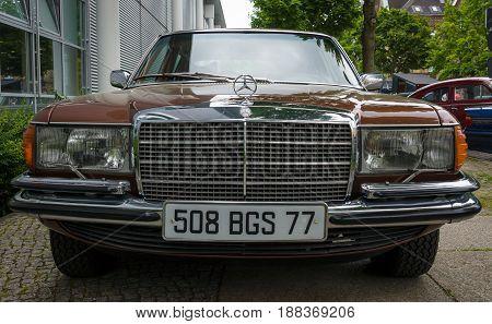 BERLIN GERMANY - MAY 17 2014: Full-size luxury car Mercedes-Benz 450SEL (W116). European Car of the Year in 1974. 27th Oldtimer Day Berlin - Brandenburg