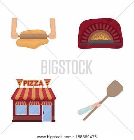 Pizza dough, oven, pizzeria building, spatula for billets. Pizza and pizzeria set collection icons in cartoon style vector symbol stock illustration .