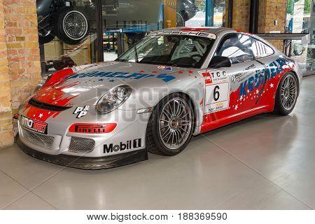 BERLIN GERMANY - MAY 17 2014: Sports car Porsche 996 GT3 RSR. Carrera Cup Germany. 27th Oldtimer Day Berlin - Brandenburg