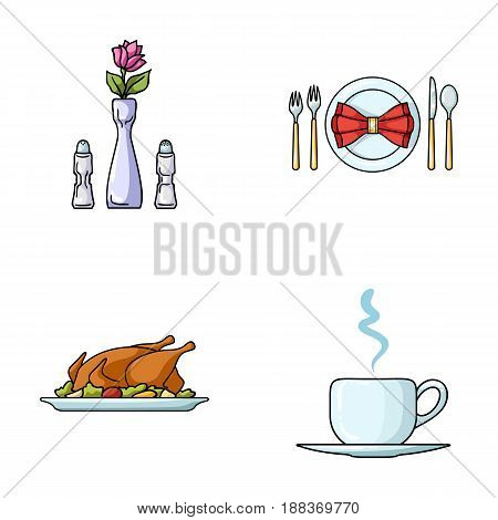 Vase with a flower, table setting, fried chicken with garnish, a cup of coffee.Restaurant set collection icons in cartoon style vector symbol stock illustration .