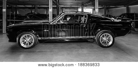 BERLIN GERMANY - MAY 17 2014: Shelby Mustang GT500 - is a high-performance version of the Ford Mustang. Black and white. 27th Oldtimer Day Berlin - Brandenburg