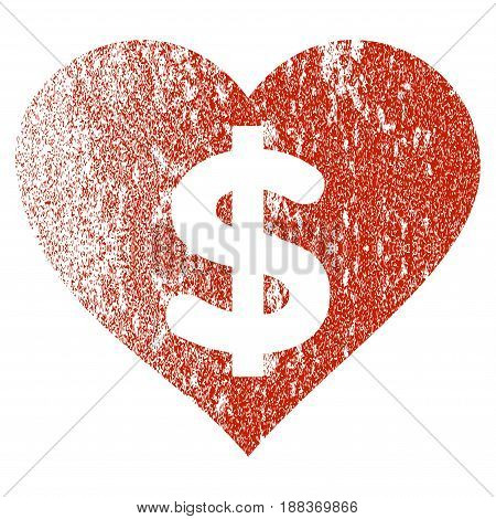 Paid Love grunge textured icon for overlay watermark stamps. Flat symbol with scratched texture. Textured vector red rubber seal stamp with grunge design on a white background.