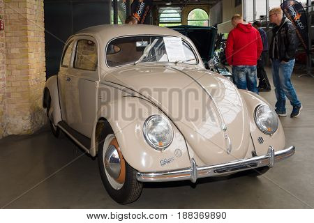 BERLIN GERMANY - MAY 17 2014: Subcompact Volkswagen Beetle Typ 11a Export (Brezelkaefers). 27th Oldtimer Day Berlin - Brandenburg